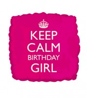 "Eckiger Folienballon ""Keep Calm Birthday Girl"" - pink"