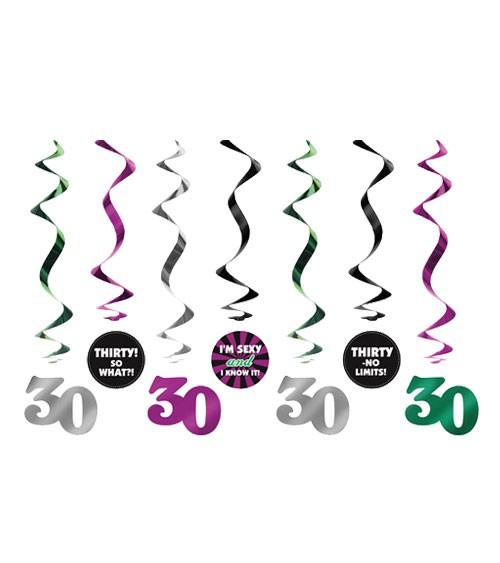 """Spiralgirlanden """"30. Geburtstag"""" - 7 Stück"""