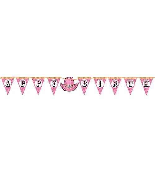 "Wimpelgirlande ""Cowgirl"" - Happy Birthday - 3,6 m"