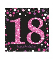 """Servietten """"Sparkling Pink"""" - 18. Geburtstag - 16 Stück"""