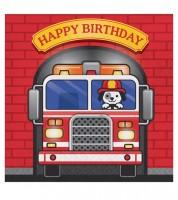 """Servietten """"Feuerwehrauto"""" - Happy Birthday - 16 Stück"""