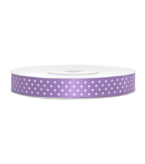 """Satinband """"Polka Dots"""" - lavendel - 12 mm x 25 m"""