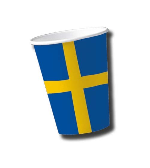 """Pappbecher """"Schweden"""" - 10 Stück"""