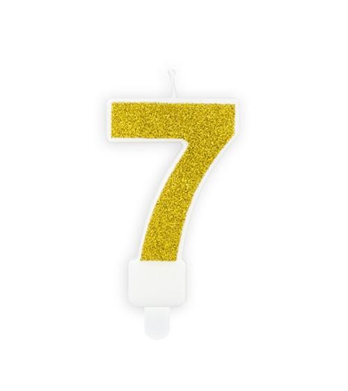 "Zahlenkerze mit Glitter ""7"" - gold - 7 cm"