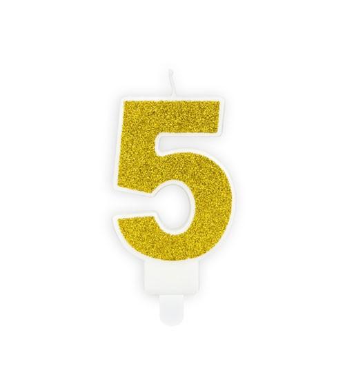 "Zahlenkerze mit Glitter ""5"" - gold - 7 cm"