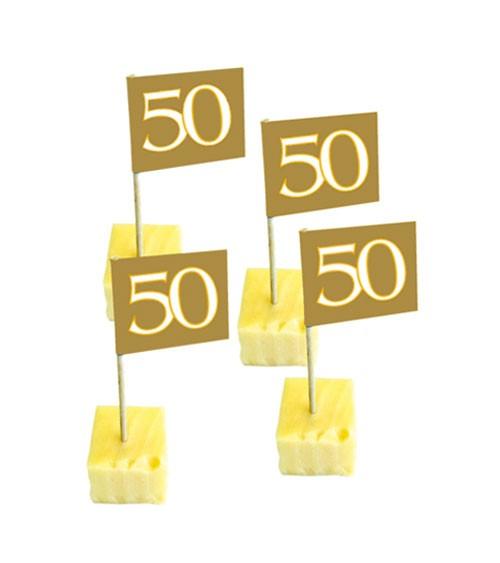 """Party-Picks """"50"""" - gold - 50 Stück"""