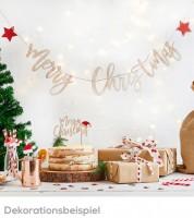 Merry Christmas Girlande aus Holz - 2 m