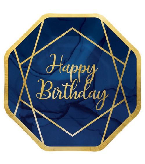"""Pappteller """"Geo Navy"""" - Happy Birthday - 8 Stück"""