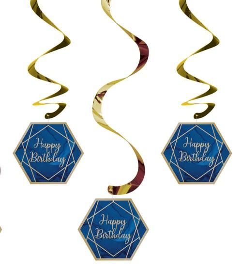 """Spiralgirlanden """"Geo Navy"""" - Happy Birthday - 5 Stück"""