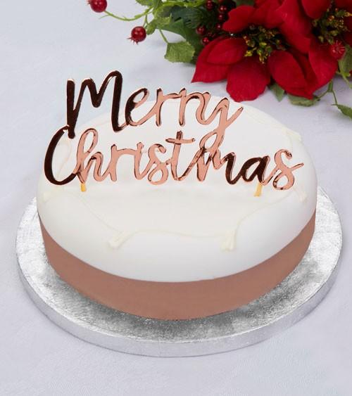 "Cake Topper aus Papier ""Merry Christmas"" - rosegold"