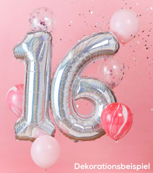 """Ballon-Deko-Set """"16. Geburtstag"""" - irisierend/rosa - 8-teilig"""