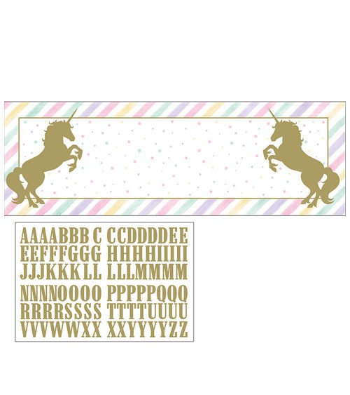 """Großer Partybanner mit Stickern """"Schimmerndes Einhorn"""" - 152 x 51 cm"""