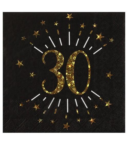 """Servietten """"Sparkling Gold"""" - 30. Geburtstag - 10 Stück"""