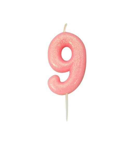 """Geburtstagskerze mit Glitter """"9"""" - rosa"""