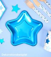 Kleine Stern-Pappteller - blau - 8 Stück