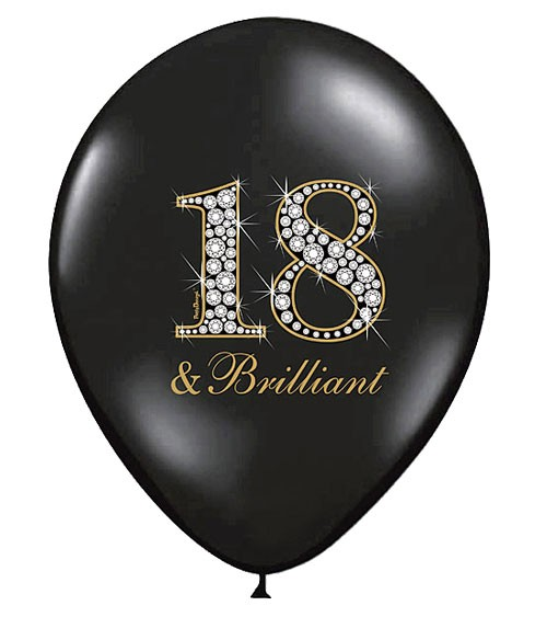 """Luftballons """"18 & Brilliant"""" - schwarz - 6 Stück"""