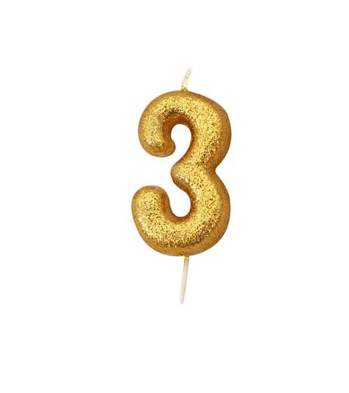 """Geburtstagskerze mit Glitter """"3"""" - gold"""