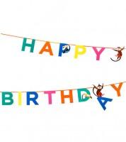 """Happy Birthday-Girlande """"Safari Geburtstag"""" - 3.5 m"""