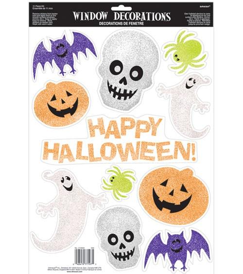 """Fensteraufkleber mit Glitzer """"Halloween"""" - 11-teilig"""