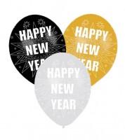 """Luftballon-Set """"HAPPY NEW YEAR"""" - schwarz/gold/silber - 6 Stück"""