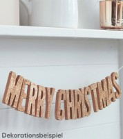 "Holz-Girlande mit Glitter ""Merry Christmas"" - rosegold - 0,7 m"