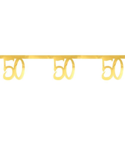 """Zahlengirlande aus Papier """"50"""" - metallic gold - 2,5 m"""