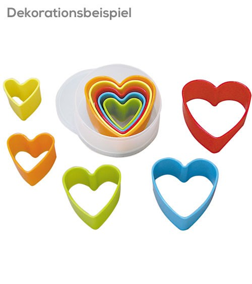 "Ausstecher-Set ""Herzen"" aus Plastik - 5-teilig"