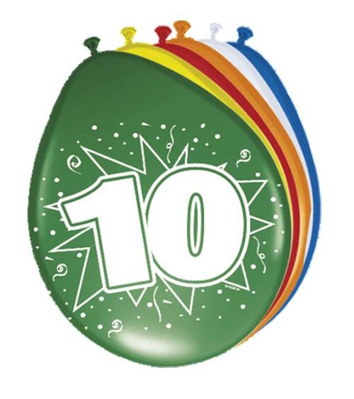 """Luftballon-Set """"10 Jahre"""" - bunt - 8 Stück"""
