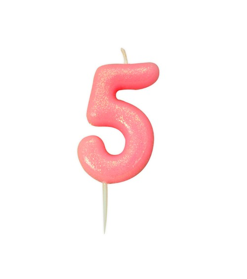 """Geburtstagskerze mit Glitter """"5"""" - rosa"""