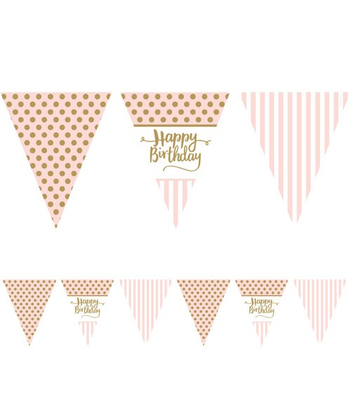 "Wimpelgirlande aus Papier ""Rosa Party"" - Happy Birthday - 3,7 m"