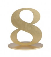 "Zahl aus Holz ""8"" - gold - 12,5 x 16,5 cm"