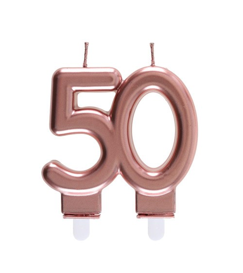 """Geburtstagskerze """"50"""" - rosegold - 7,5 x 7 cm"""