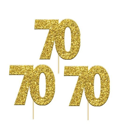 "Cupcake-Topper Zahl ""70"" - glitter gold - 12 Stück"
