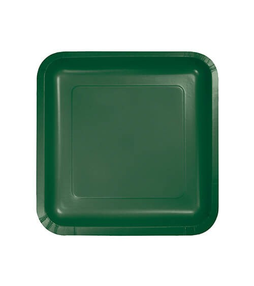 Kleine eckige Pappteller - hunter green - 18 Stück