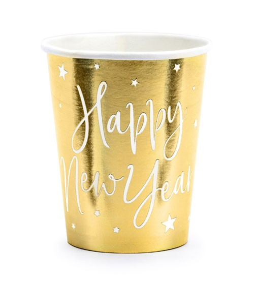 "Pappbecher ""Happy New Year"" - metallic gold - 6 Stück"