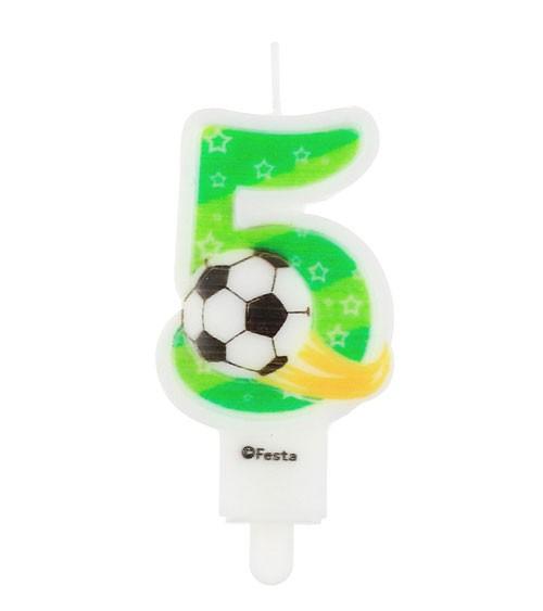 """Fußball-Zahlenkerze """"5"""" - 7,8 cm"""