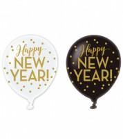 """Luftballon-Set """"Happy New Year"""" - schwarz/weiß - 6 Stück"""