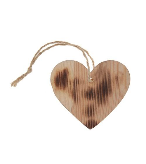 Herz-Anhänger aus Holz - gemasert - 4 Stück