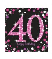 """Servietten """"Sparkling Pink"""" - 40. Geburtstag - 16 Stück"""