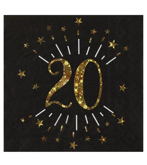 """Servietten """"Sparkling Gold"""" - 20. Geburtstag - 10 Stück"""