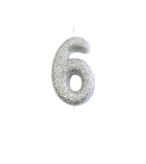 """Geburtstagskerze mit Glitter """"6"""" - silber"""
