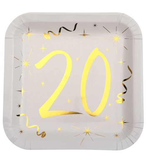 """Viereckige Pappteller """"20"""" - weiß, gold - 10 Stück"""