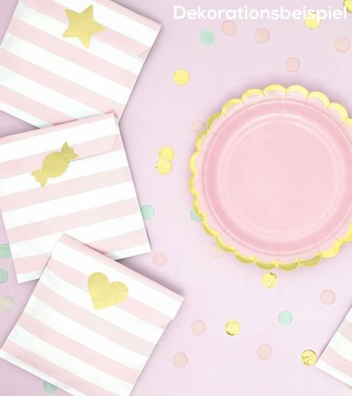 Papiertüten mit goldenen Stickern - rosa - 6 Stück