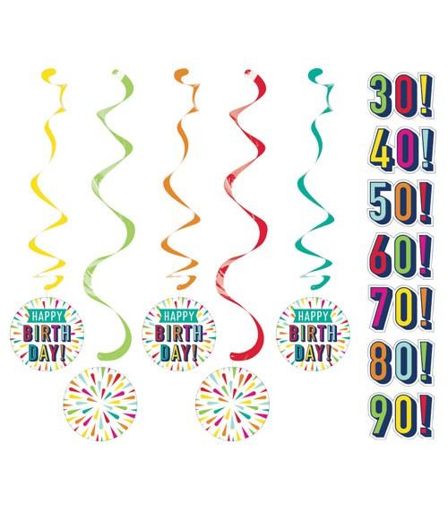 """Spiralgirlanden mit Stickern """"Birthday Colours"""" - 5 Stück"""