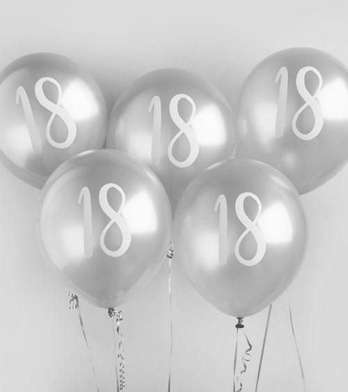 """Metallic-Luftballons """"18"""" - silber - 5 Stück"""