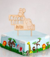 """Dein Cake-Topper """"Kleiner Elefant"""" aus Holz - Wunschtext"""