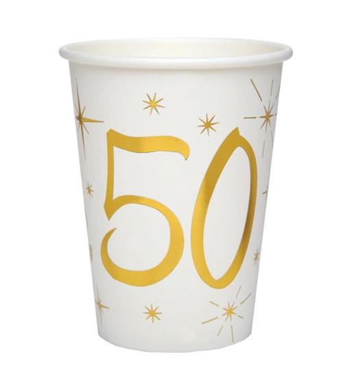 "Pappbecher ""50"" - weiß, gold - 10 Stück"