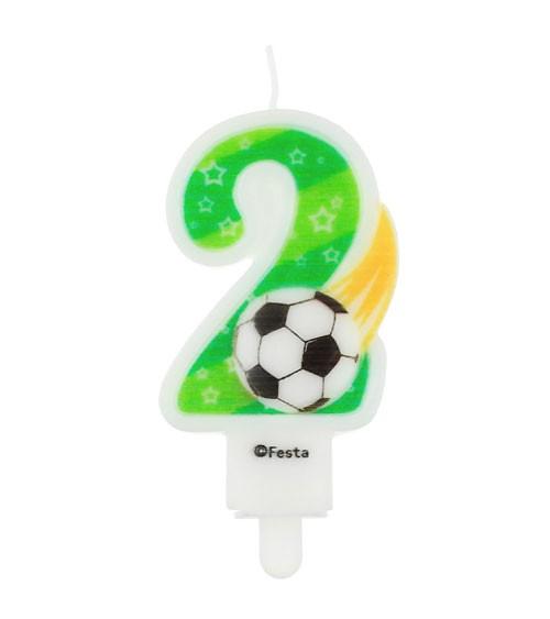 """Fußball-Zahlenkerze """"2"""" - 7,8 cm"""
