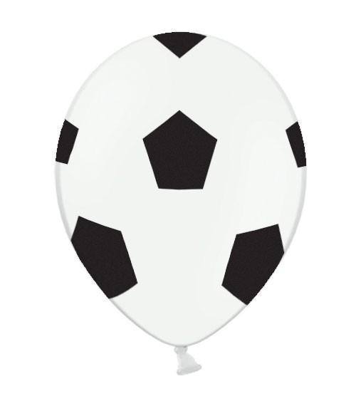 """Luftballons """"Fußball"""" - weiß/schwarz - 6 Stück"""