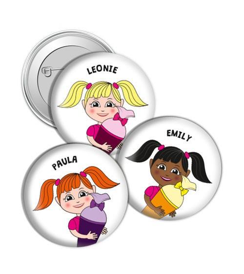 """Dein Button """"Mädchen mit Schultüte"""" - Wunschtext"""